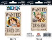 One Piece - Wanted Luffy/ Zoro (stickers 16x11cm 2 Planches)