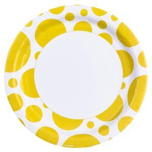 Amscan: Solid Colour Dots Yellow - 8 Piatto 23 Cm
