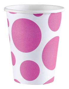 Amscan: Solid Colour Dots Pink - 8 Bicchieri 200 Ml