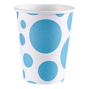 Amscan: Solid Colour Dots Caribbean Blue - 8 Bicchieri 200 Ml