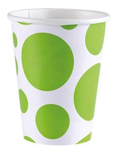 Amscan: Solid Colour Dots Kiwi - 8 Bicchieri 200 Ml