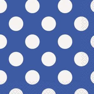 16 Royal Blue Dots Bev Naps                   Qs