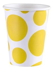 Amscan: Solid Colour Dots Yellow - 8 Bicchieri 200 Ml