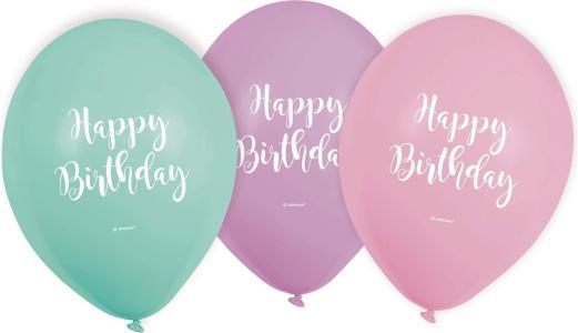6 Balloons Happy Birth.Pastel 22,8Cm/9