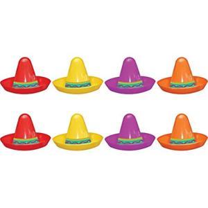 8 Mini Sombreros Plastic Assorted