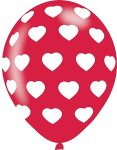 6 Balloons Hearts Red