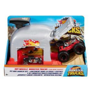 Mattel GKY02 - Hot Wheels - Monster Trucks - Garage Lanciatore Team Bone Shaker