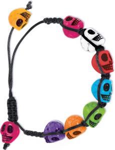 Skull Bracelet Day Of The Dead                  H. Braccialetto Teschi Colorati