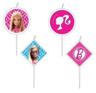4 Mini-Figurenkerzen Barbie                     S
