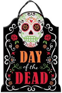 Amscan: Sign Day Of The Dead With Glitter Font / Decorazione Da Appendere (40x 30)