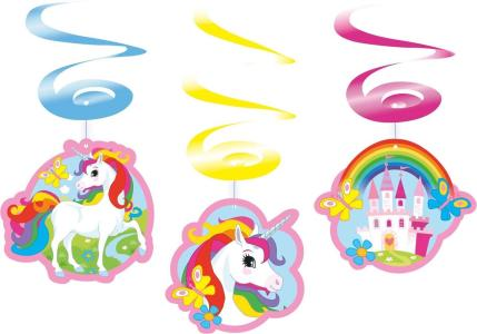 6 Deco Swirls Unicorn