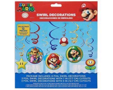 12 Swirl Decorations Super Mario Foil/Paper 61Cm